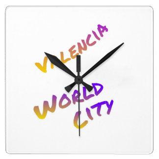 Valencia world city, colorful text art wall clock