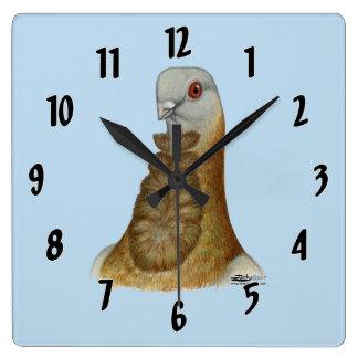 Valencian Figurita Pigeon Portrait Square Wall Clock