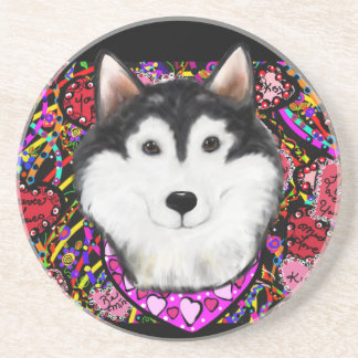 Valentine Alaskan Malamute Coaster