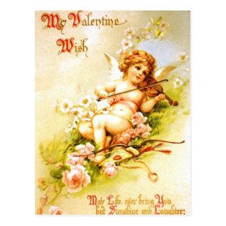 Valentine Angel Violin Vintage Postcard Cupid Art