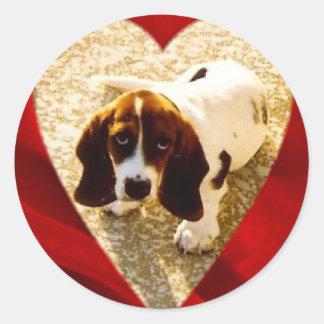 Valentine Bassett Hound Round Sticker