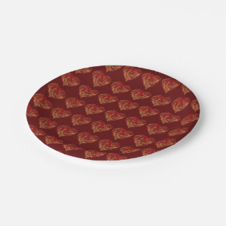 Valentine Be Mine Red Brown Heart Typography 7 Inch Paper Plate