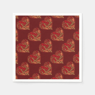 Valentine Be Mine Red Brown Heart Typography Paper Napkins
