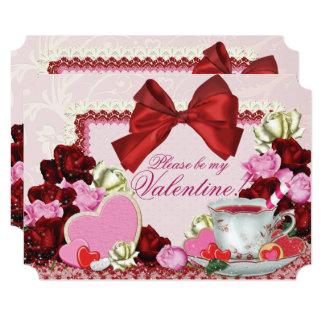 Valentine Birthday Sweetheart Tea Party Card