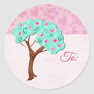 Valentine Blossoms Adorable Mixed Media 2 Classic Round Sticker