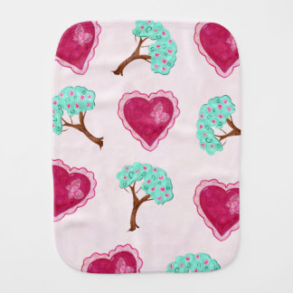 Valentine Blossoms Adorable Mixed Media FOR BABY Burp Cloth