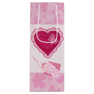 Valentine Blossoms Adorable Mixed Media Wine Gift Bag