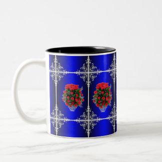 Valentine Blue Mirror & Roses Two-Tone Coffee Mug