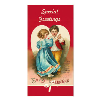 Valentine Boy and Girl Dancing Photo Card Template