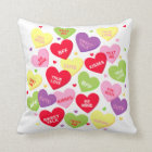 Valentine candy heart messages pillow