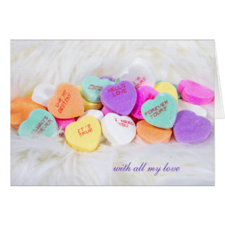 Valentine candy hearts on fur card