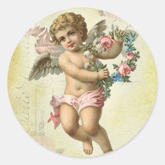Valentine Cherub Classic Round Sticker