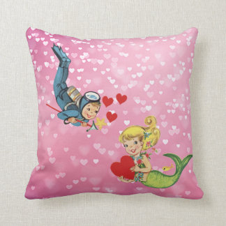 Valentine Child Mermaid and Scuba Diver Throw Pillow