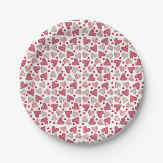 Valentine Cookie Collage 7 Inch Paper Plate