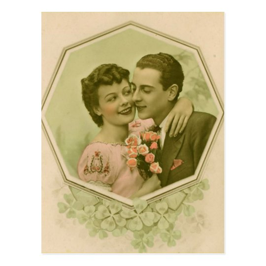 Valentine couple with roses postcard