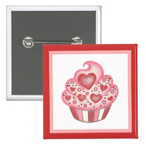 Valentine Cupcake Button