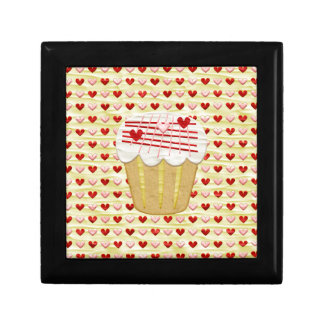 Valentine Cupcake with Heart Candles, Red, Pink Gift Box