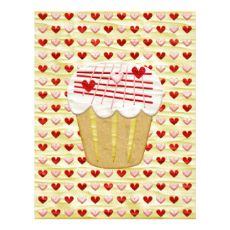 Valentine Cupcake with Heart Candles, Red, Pink Letterhead