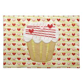 Valentine Cupcake with Heart Candles, Red, Pink Placemat