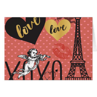 Valentine Cupids, Hearts and the Eiffel Tower Card