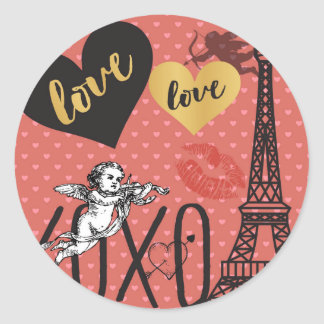 Valentine Cupids, Hearts and the Eiffel Tower Classic Round Sticker
