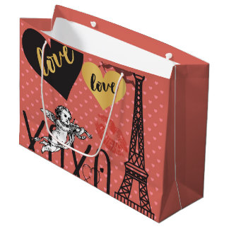 Valentine Cupids, Hearts and the Eiffel Tower Large Gift Bag