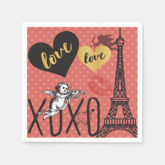 Valentine Cupids, Hearts and the Eiffel Tower Paper Napkin