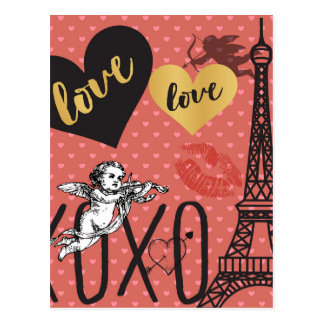 Valentine Cupids, Hearts and the Eiffel Tower Postcard