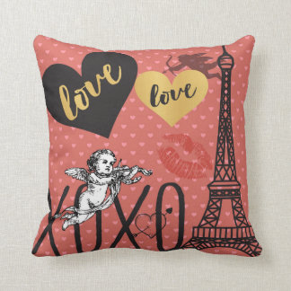 Valentine Cupids, Hearts and the Eiffel Tower Throw Pillow