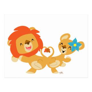 Valentine dancing lion couple postcard