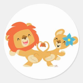 Valentine dansant l'autocollant de couples de lion sticker rond