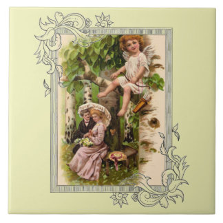 Valentine Date And Cupid Tile