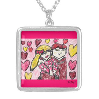 valentine date art one silver plated necklace