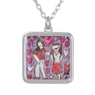 valentine date art silver plated necklace