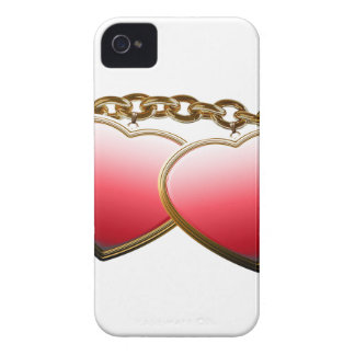 Valentine day love chain with hearts Case-Mate iPhone 4 cases