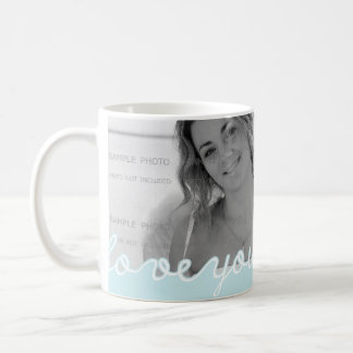 Valentine Day Personalized Photo Love You Blue Coffee Mug