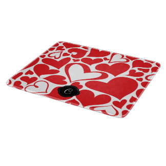 Valentine day theme heart pattern with monogram cutting board