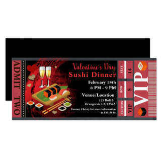 Valentine Dinner Black Red Sushi Party VIP Ticket Card