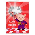 Valentine disco pig greeting card