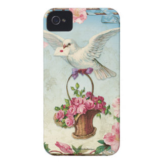 Valentine Dove Delivers Basket of Roses iPhone 4 Cases