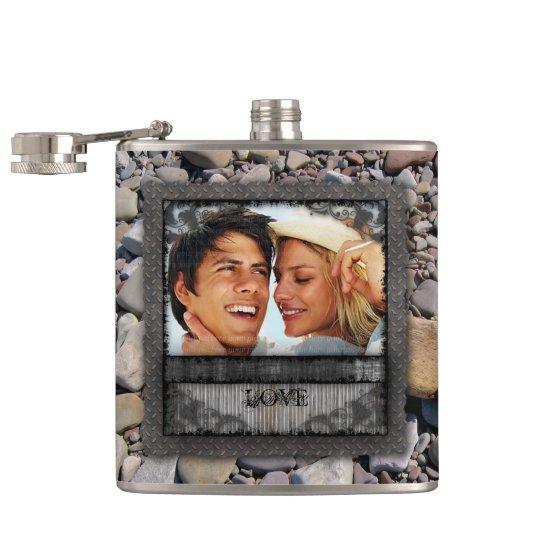Valentine Engagement Wedding Beach Stones Hip Flask
