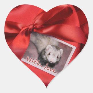 Valentine Ferret Heart Stickers