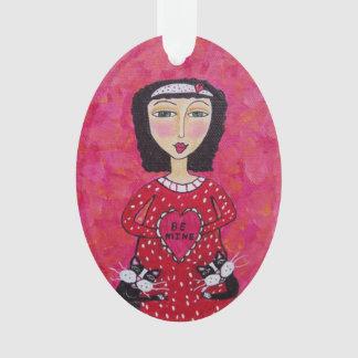 Valentine Folk Art Lady Heart Black Cats Love