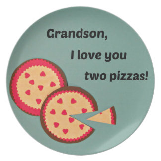 Valentine for Grandson - Pizza humor Plate