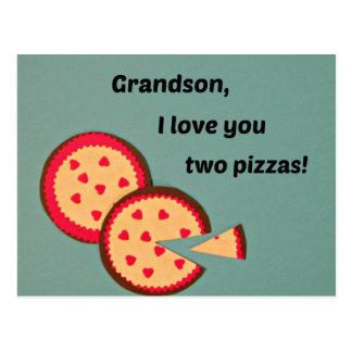 Valentine for Grandson - Pizza humor Postcard