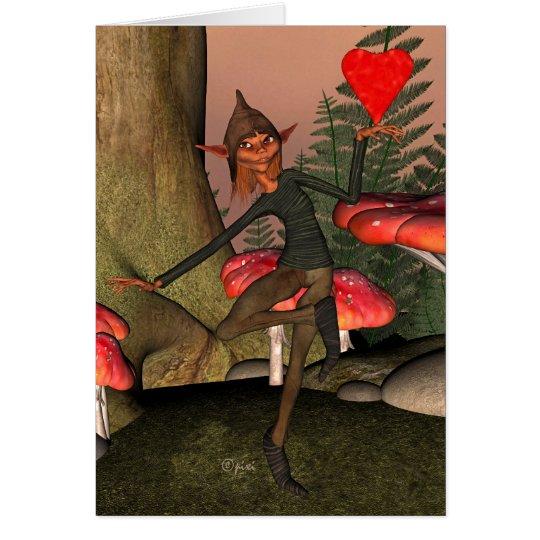 Valentine Forest Elf - Greeting Card
