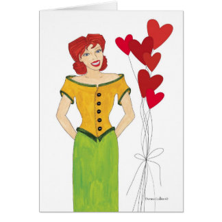 Valentine Girl with Heart Ballons Card