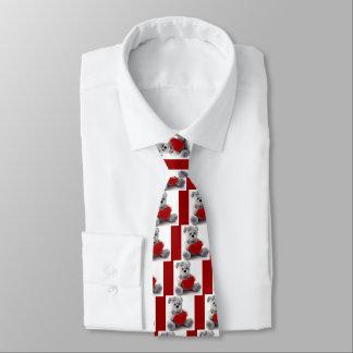 Valentine Grey Teddy Bear Holding a Red Heart Tie