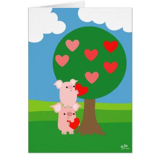 Valentine gros et carte de voeux d'arbre d'amour