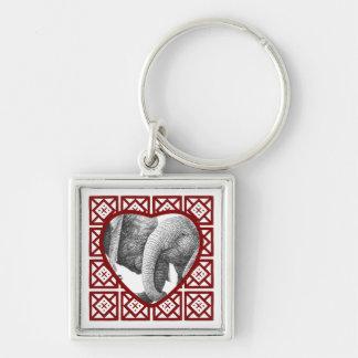 Valentine Heart African Elephants Keychain